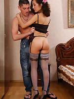 Dolled-up hussy in smashing designer stockings going hardcore with her guy
