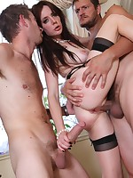 Lovely cutie pie gets screwed by two naughty guys