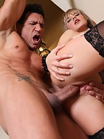 Naughty Blonde doll ridding a rough Latino dude