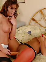 Two naughty lesbian housewives at play