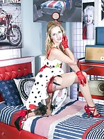 Under her full frock Skye has on some very racy underwear. Hot ff nylons and patent red stilettos complete the look!