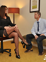 Busty Boss Carly tricks her employee in to giving her his big throbbing cock, making sure he dumps his cum deep inside her