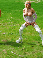 Rebecca More loves to piss outdoors in the country when her naughty girlfriend is watching