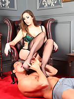 This stud couldn't wait to get his tongue on Paiges gorgeous nylon covered feet.